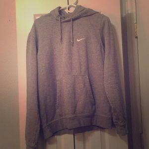 Grey Nike hoodie.